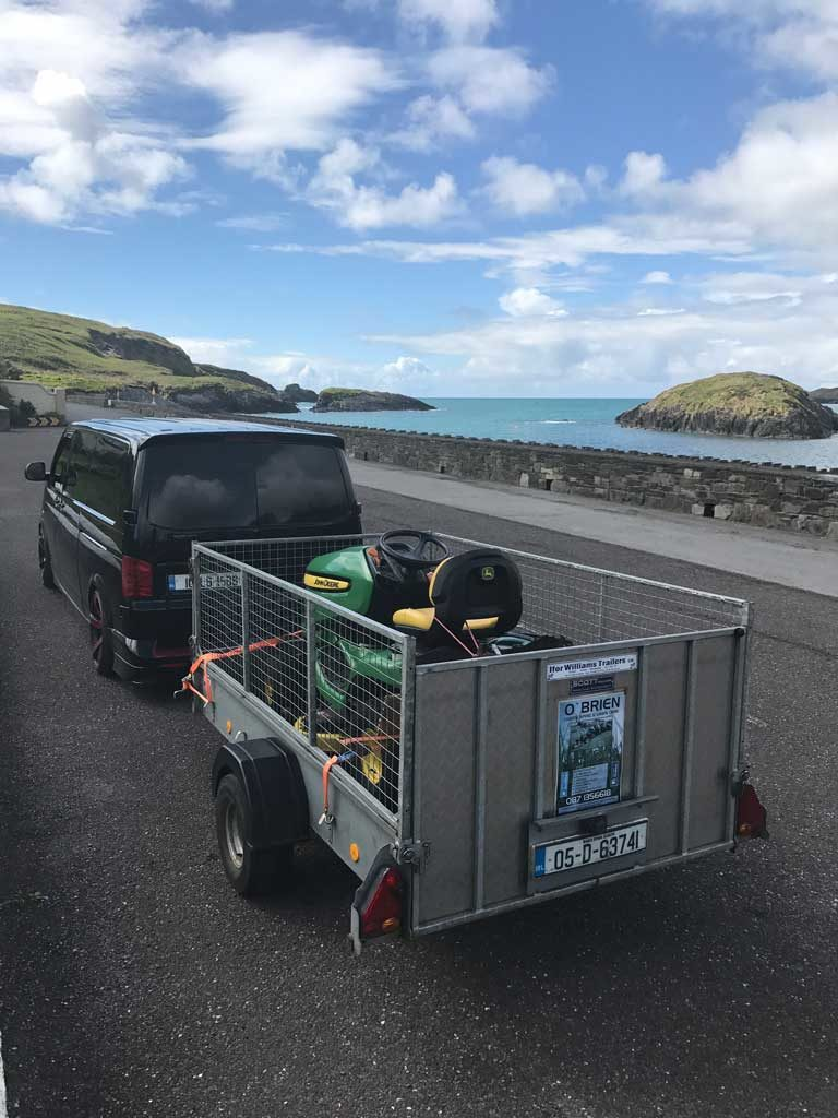 O'Brien Landscaping and Lawn Care van and trailer Tragumna